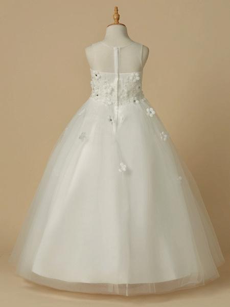 A-Line Floor Length Wedding / First Communion Flower Girl Dresses - Satin / Tulle Sleeveless Jewel Neck With Beading / Flower_2