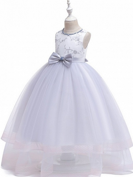 Princess / Ball Gown Floor Length Wedding / Party Flower Girl Dresses - Tulle Sleeveless Jewel Neck With Sash / Ribbon / Bow(S) / Appliques_7