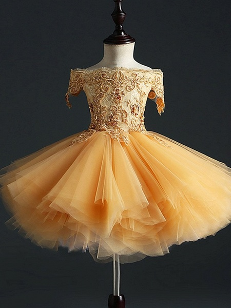 Princess Short Length Pageant Flower Girl Dresses - Polyester Short Sleeve Off Shoulder With Appliques_1