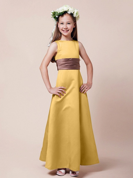 Princess / A-Line Bateau Neck Floor Length Satin Junior Bridesmaid Dress With Sash / Ribbon / Ruched / Spring / Summer / Fall / Winter / Apple_19