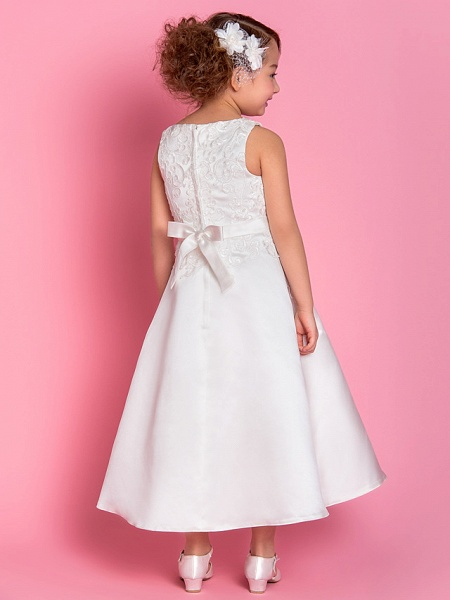 A-Line Tea Length Wedding / First Communion Flower Girl Dresses - Satin Sleeveless Scoop Neck With Bow(S) / Appliques / Spring / Summer / Fall / Winter_3