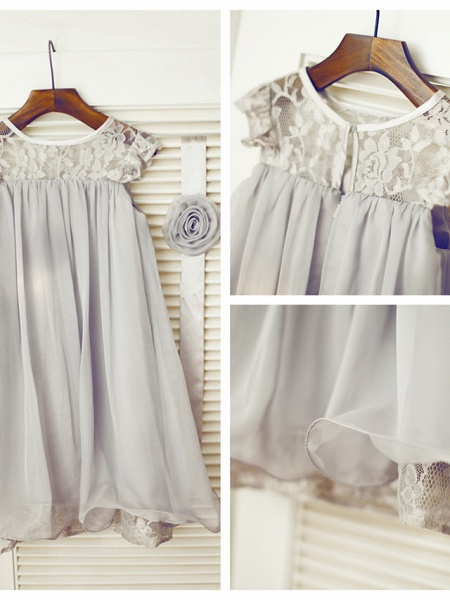 A-Line Tea Length Holiday Flower Girl Dresses - Chiffon / Lace Sleeveless Jewel Neck With Lace / Pleats_4