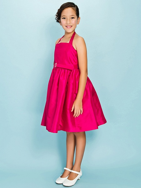 Princess / Ball Gown Halter Neck Knee Length Taffeta Junior Bridesmaid Dress With Sash / Ribbon / Draping / Crystal Brooch / Spring / Summer / Fall / Apple / Hourglass_3
