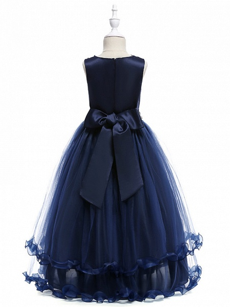 Princess Long Length Wedding / Party / Pageant Flower Girl Dresses - Lace / Tulle Sleeveless Jewel Neck With Crystals / Embroidery_6