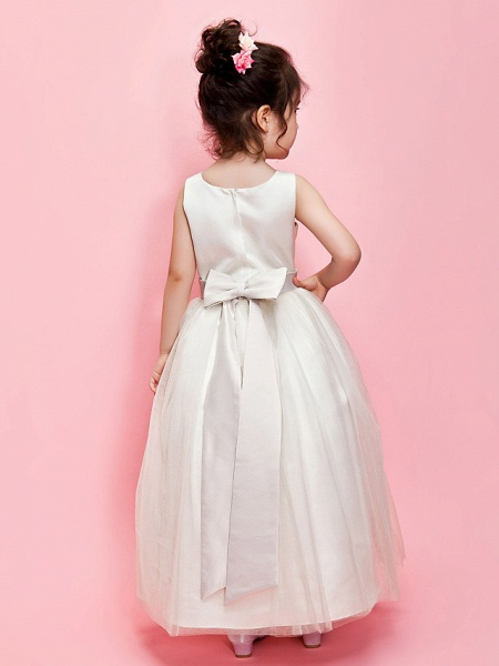 Ball Gown / A-Line Ankle Length Wedding / First Communion Flower Girl Dresses - Satin / Tulle Sleeveless Jewel Neck With Sash / Ribbon / Bow(S) / Spring / Summer / Fall / Winter_2