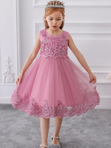 Ball Gown Knee Length Wedding / Party Flower Girl Dresses - Tulle Sleeveless Jewel Neck With Bow(S) / Appliques_2
