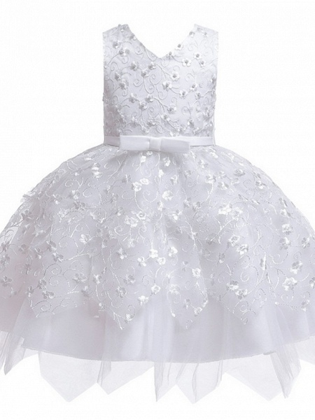 Princess / Ball Gown Mini Wedding / Party Flower Girl Dresses - Tulle Sleeveless V Neck With Sash / Ribbon / Bow(S) / Appliques_9