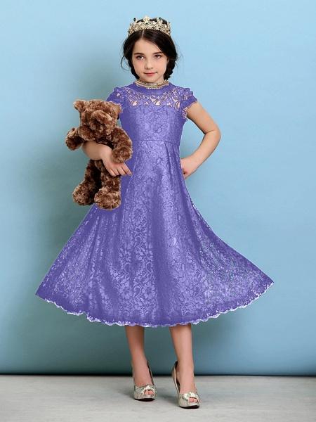 Princess / A-Line Jewel Neck Tea Length Lace Junior Bridesmaid Dress With Pleats / Natural_39