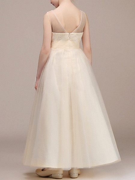 A-Line Ankle Length First Communion Flower Girl Dresses - Chiffon Sleeveless Plunging Neck With Ruching_3