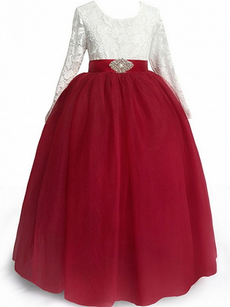 A-Line Floor Length Event / Party / Birthday Flower Girl Dresses - Poly Long Sleeve Jewel Neck With Lace / Sash / Ribbon / Pleats_3