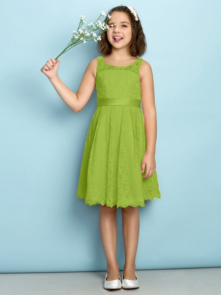 A-Line Scoop Neck Knee Length All Over Floral Lace Junior Bridesmaid Dress With Lace / Natural / Mini Me_27