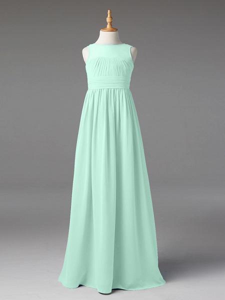 Princess / A-Line Jewel Neck Floor Length Chiffon Junior Bridesmaid Dress With Sash / Ribbon / Pleats_47