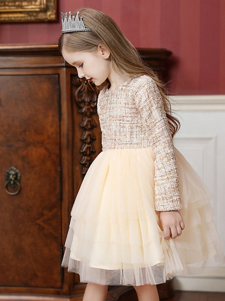 Princess / Ball Gown Knee Length Wedding / Party Flower Girl Dresses - Tulle Long Sleeve Jewel Neck With Ruffles / Tier_3