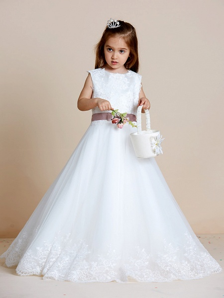 A-Line Floor Length Wedding / First Communion Flower Girl Dresses - Satin / Tulle Sleeveless Jewel Neck With Sash / Ribbon / Bow(S) / Appliques_7