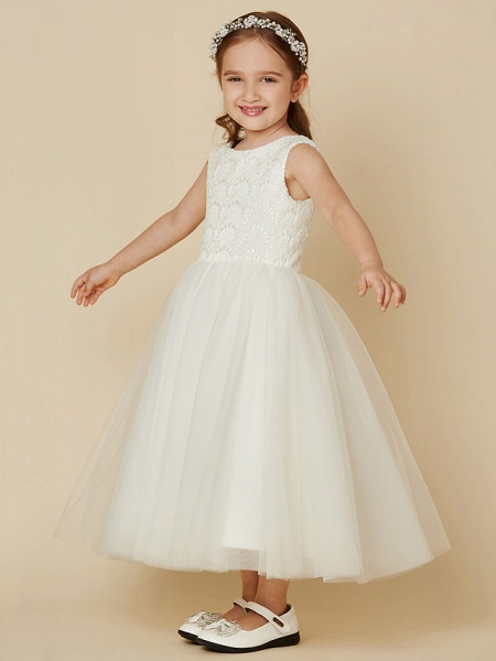Princess Knee Length Wedding / First Communion Flower Girl Dresses - Lace / Satin / Tulle Sleeveless Jewel Neck With Lace_3