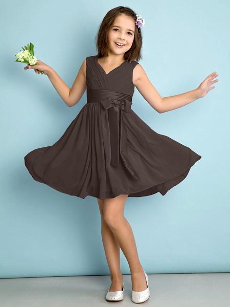 A-Line V Neck Knee Length Chiffon Junior Bridesmaid Dress With Bow(S) / Criss Cross / Natural_23