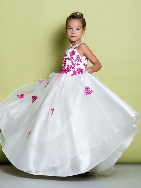 A-Line Floor Length Pageant Flower Girl Dresses - Organza Sleeveless Jewel Neck With Beading / Appliques_4