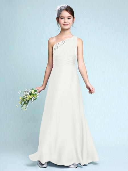 Sheath / Column One Shoulder Floor Length Chiffon Satin Junior Bridesmaid Dress With Ruched / Side Draping / Natural_21