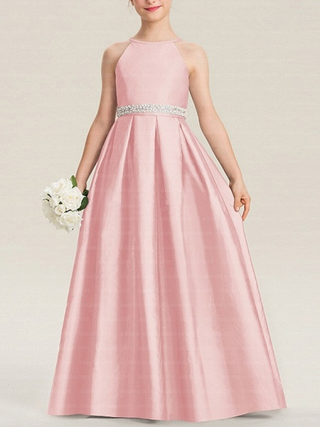 A-Line Floor Length Pageant Flower Girl Dresses - Polyester Sleeveless Halter Neck With Bow(S)_2