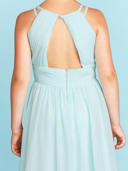 Princess / A-Line Jewel Neck Floor Length Chiffon Junior Bridesmaid Dress With Ruched / Side-Draped / Wedding Party / Open Back_8