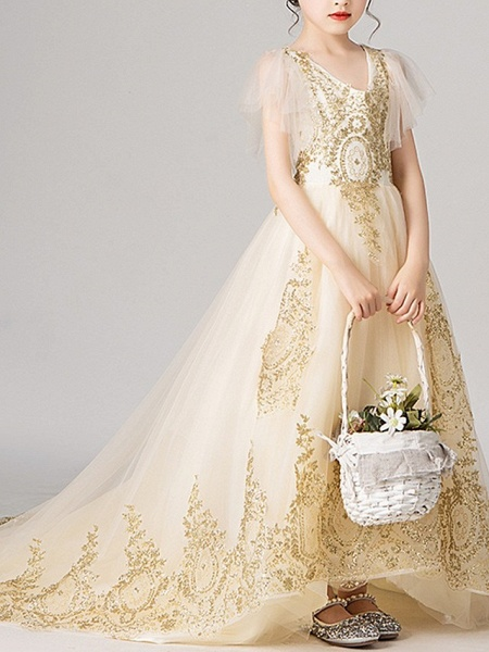 Ball Gown Sweep / Brush Train Pageant Flower Girl Dresses - Polyester Short Sleeve V Neck With Appliques_3