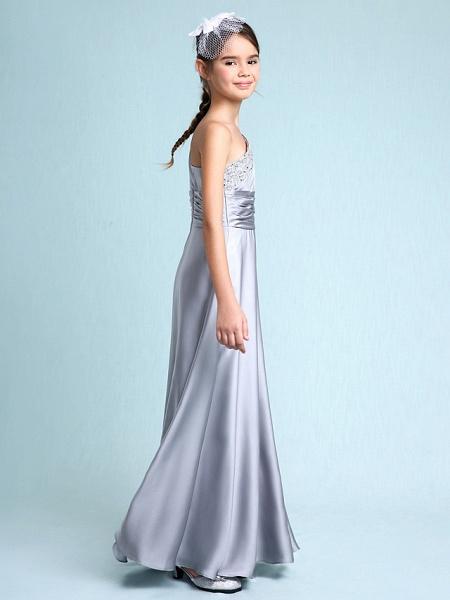 Sheath / Column One Shoulder Floor Length Chiffon Satin Junior Bridesmaid Dress With Ruched / Side Draping / Natural_7