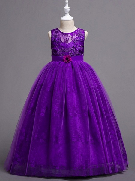 Princess / Ball Gown Floor Length Wedding / Party Flower Girl Dresses - Tulle Sleeveless Jewel Neck With Bow(S) / Appliques_4