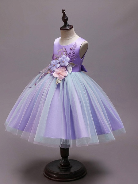Princess Knee Length Wedding / Party / Pageant Flower Girl Dresses - Satin / Tulle / Cotton Sleeveless Jewel Neck With Belt / Embroidery / Appliques_3