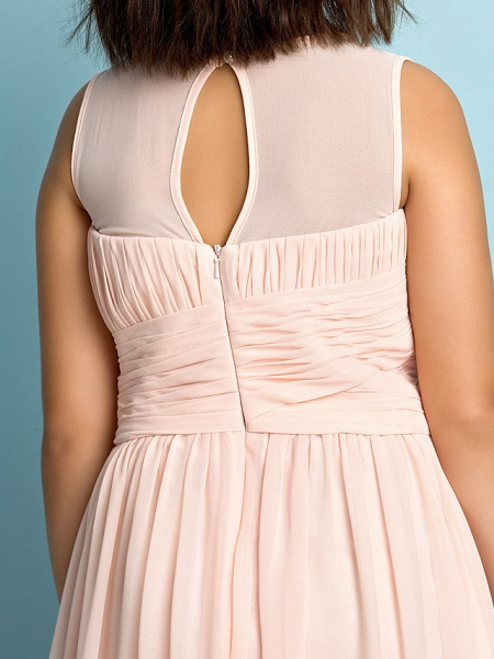 A-Line Jewel Neck Knee Length Chiffon Junior Bridesmaid Dress With Criss Cross / Natural / Mini Me_4