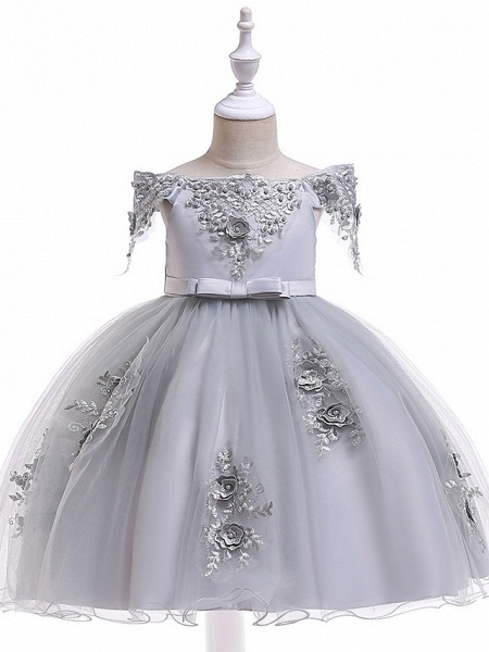 Princess Above Knee Wedding / Party / Pageant Flower Girl Dresses - Satin / Tulle Short Sleeve Off Shoulder With Lace / Beading / Appliques_10