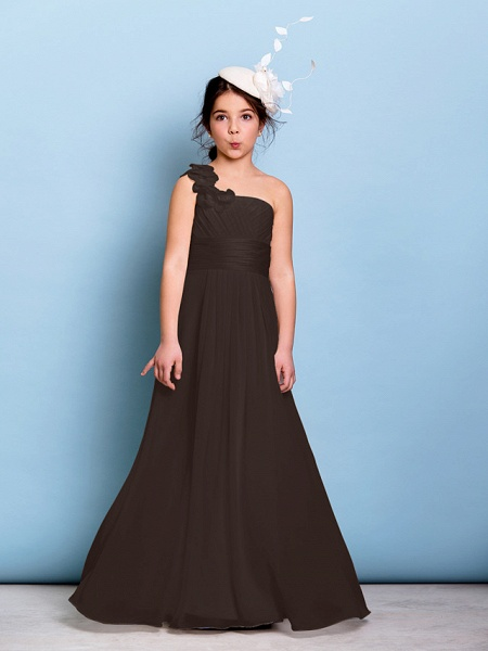 A-Line One Shoulder Floor Length Chiffon Junior Bridesmaid Dress With Sash / Ribbon / Criss Cross / Ruched / Natural_23