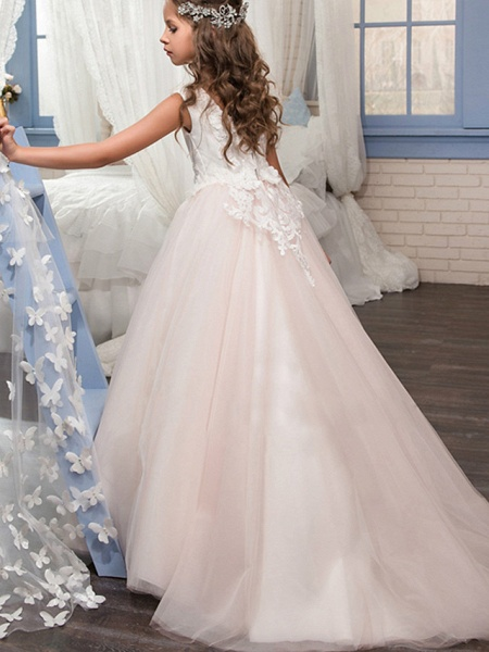 Princess Floor Length Wedding / Birthday / Pageant Flower Girl Dresses - Tulle Sleeveless Boat Neck With Lace / Appliques_2