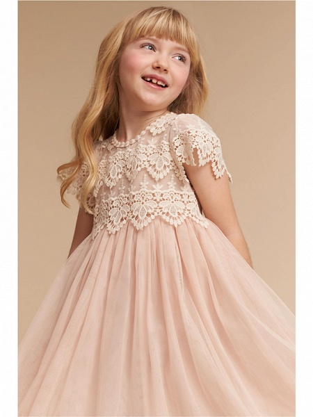 A-Line Knee Length Wedding / Party Flower Girl Dresses - Lace / Tulle Cap Sleeve Jewel Neck With Solid_1