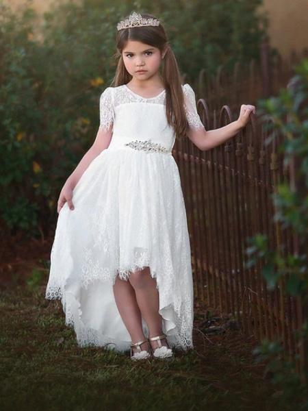 A-Line Asymmetrical Wedding Flower Girl Dresses - Satin / Taffeta / Tulle Short Sleeve V Neck With Sash / Ribbon / Tier / Solid_1