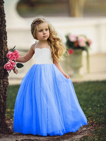Ball Gown Floor Length Wedding / Party Flower Girl Dresses - Tulle Sleeveless Jewel Neck With Color Block_2