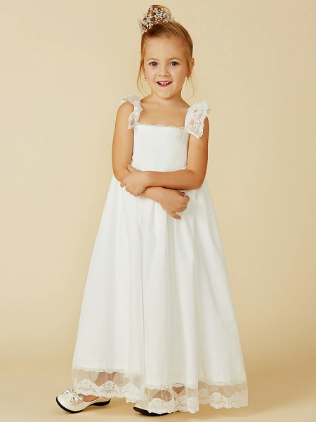 A-Line Ankle Length Wedding / First Communion Flower Girl Dresses - Lace / Cotton Sleeveless Straps With Pleats_6