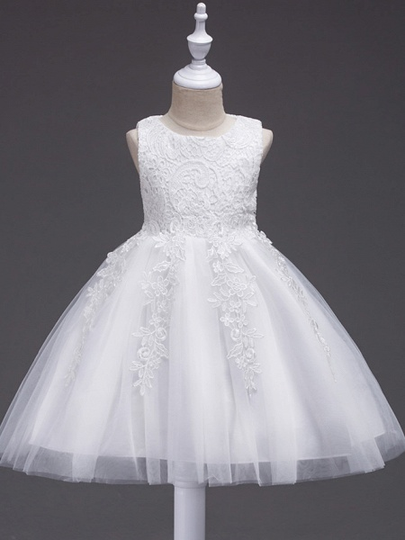 Princess Midi Wedding / First Communion / Birthday Flower Girl Dresses - Lace / Tulle Sleeveless Jewel Neck With Lace / Bow(S) / Appliques_1