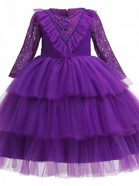 Princess / Ball Gown Knee Length Wedding / Party Flower Girl Dresses - Tulle 3/4 Length Sleeve Jewel Neck With Bow(S) / Beading / Cascading Ruffles_4
