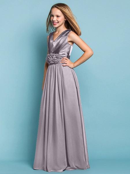 Sheath / Column V Neck Floor Length Chiffon Junior Bridesmaid Dress With Flower / Spring / Summer / Fall / Apple / Hourglass_45
