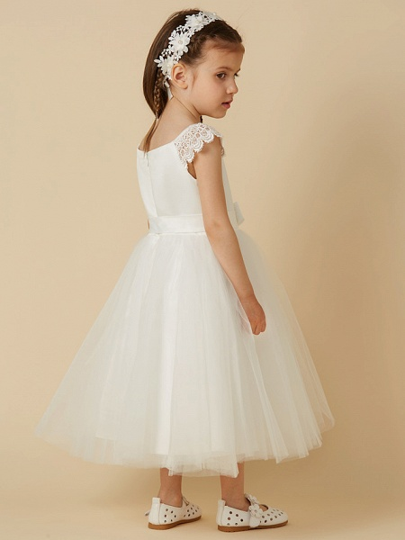 Princess Tea Length Wedding / First Communion Flower Girl Dresses - Lace / Satin / Tulle Short Sleeve Scoop Neck With Sash / Ribbon / Bow(S)_2