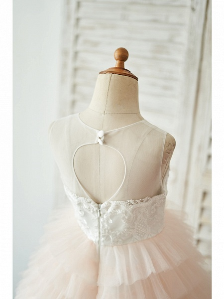 Ball Gown Floor Length Wedding / Birthday Flower Girl Dresses - Lace / Tulle Sleeveless Jewel Neck With Lace / Buttons_4