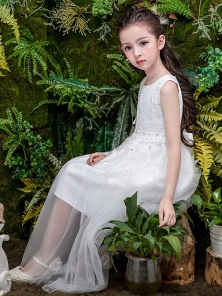 A-Line Ankle Length Wedding Flower Girl Dresses - Tulle Sleeveless Jewel Neck With Bow(S) / Tier / Solid_2
