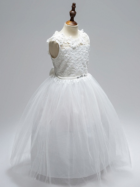 Ball Gown Floor Length Wedding / First Communion Flower Girl Dresses - Lace / Tulle Sleeveless Jewel Neck With Sash / Ribbon / Bow(S) / Appliques / Open Back_4