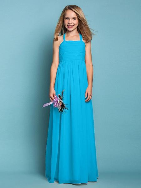 Sheath / Column Halter Neck Floor Length Chiffon Junior Bridesmaid Dress With Ruched / Spring / Summer / Fall / Apple / Hourglass_32