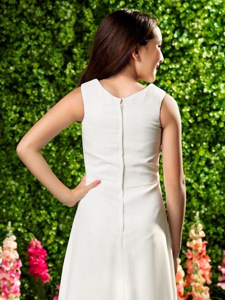 Sheath / Column V Neck Ankle Length Chiffon Junior Bridesmaid Dress With Criss Cross / Draping / Spring / Summer / Fall / Wedding Party_6