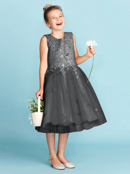 Princess / A-Line Jewel Neck Knee Length Lace / Tulle Junior Bridesmaid Dress With Bow(S) / Appliques / Wedding Party_37