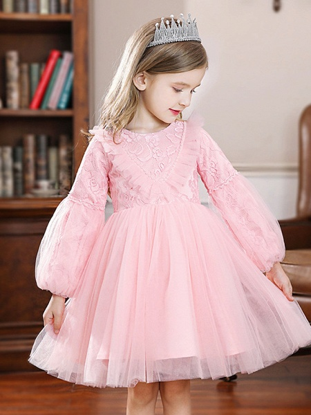 Princess / Ball Gown Knee Length Wedding / Party Flower Girl Dresses - Tulle Long Sleeve Jewel Neck With Pleats / Splicing_3