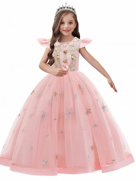 A-Line Ankle Length Wedding / Party / Pageant Flower Girl Dresses - Tulle / Matte Satin / Poly&Cotton Blend Short Sleeve Jewel Neck With Pattern / Print / Solid_4