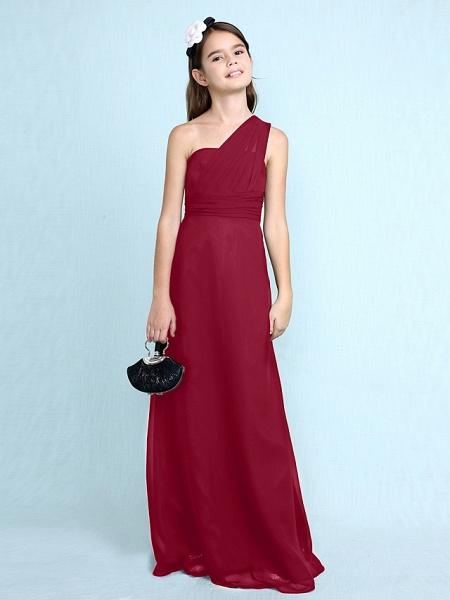 Sheath / Column One Shoulder Floor Length Chiffon Junior Bridesmaid Dress With Side Draping / Natural_18