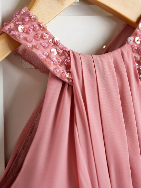 A-Line Halter Neck Maxi Chiffon Junior Bridesmaid Dress With Beading / Ruching_6